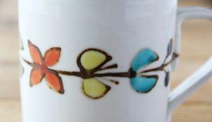色絵花繋ぎマグカップを拡大した画像