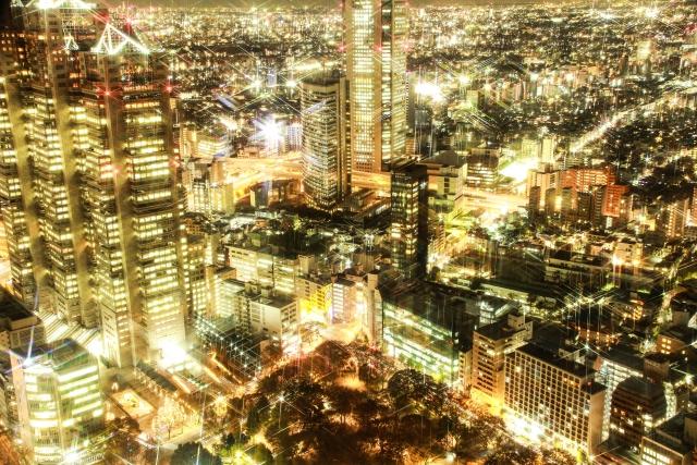 夜に光輝く大都会東京の画像