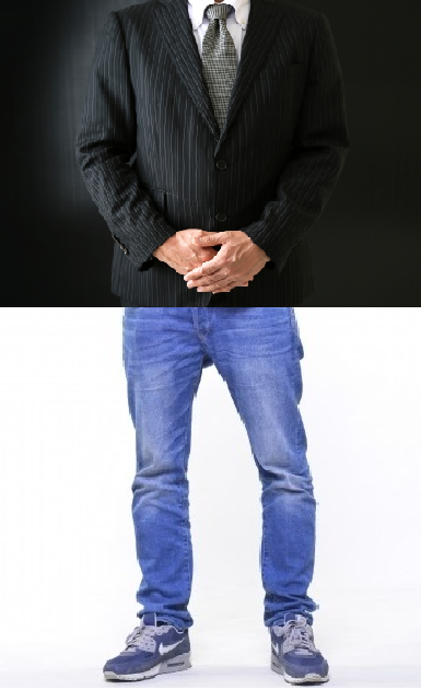 上半身は高級スーツで下半身はボロボロのジーンズの男性の画像
