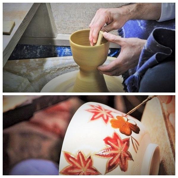 陶芸のロクロや絵付けの工程の画像