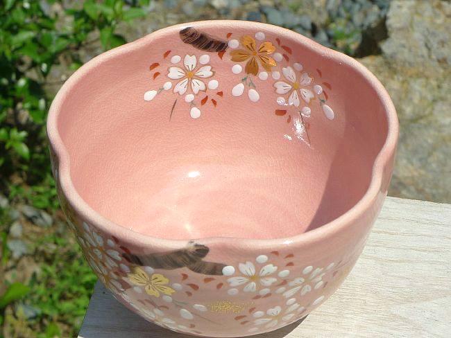 色絵桜抹茶碗を上から見た画像