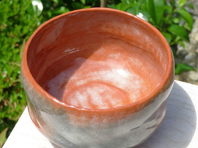 赤楽茶碗の内側の画像