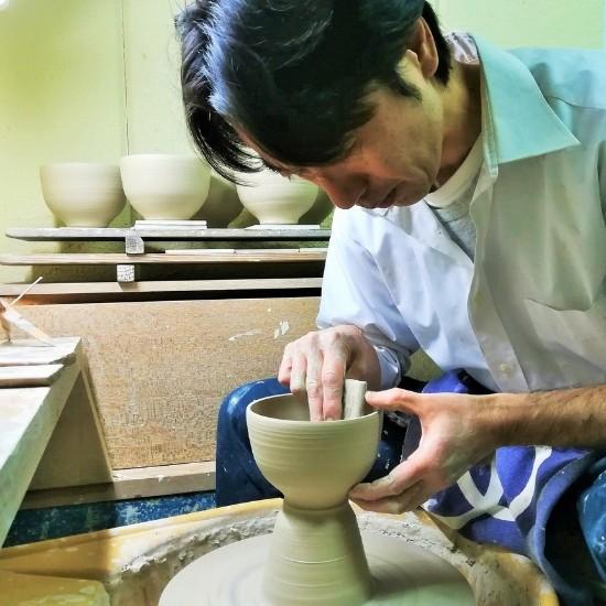 抹茶碗青楓カワセミをロクロで作る画像
