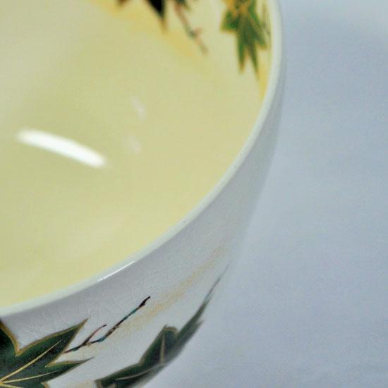 抹茶碗青楓にカワセミの飲み口の画像
