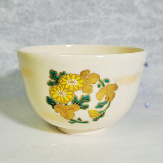 抹茶碗四君子の菊の絵の画像