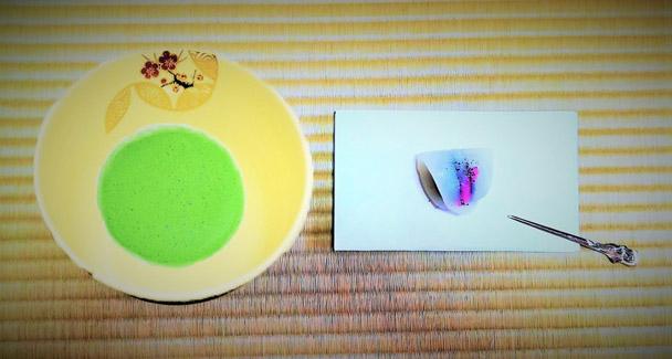 抹茶碗四季七宝つなぎと抹茶と和菓子の画像