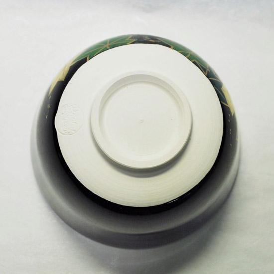 抹茶碗黒釉若楓にカワセミの裏側の画像