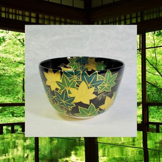抹茶碗黒釉若楓にカワセミのイメージ画像
