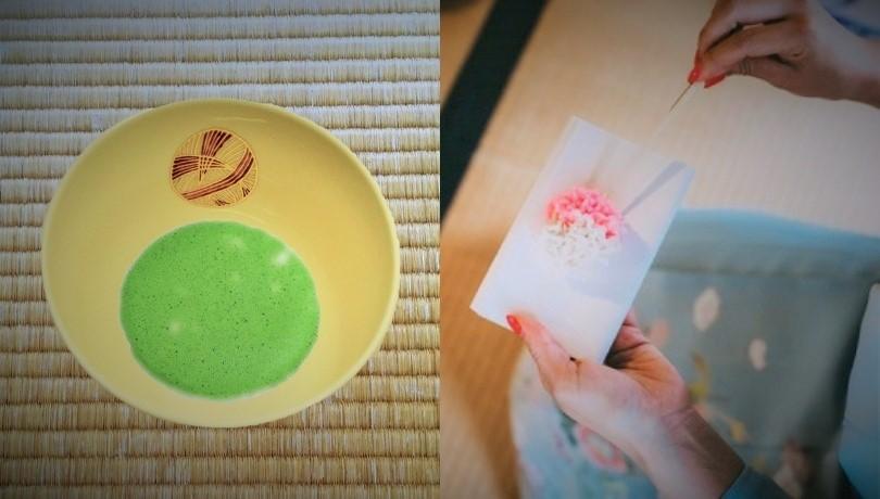 抹茶碗手まりと和菓子を食べる女性の画像