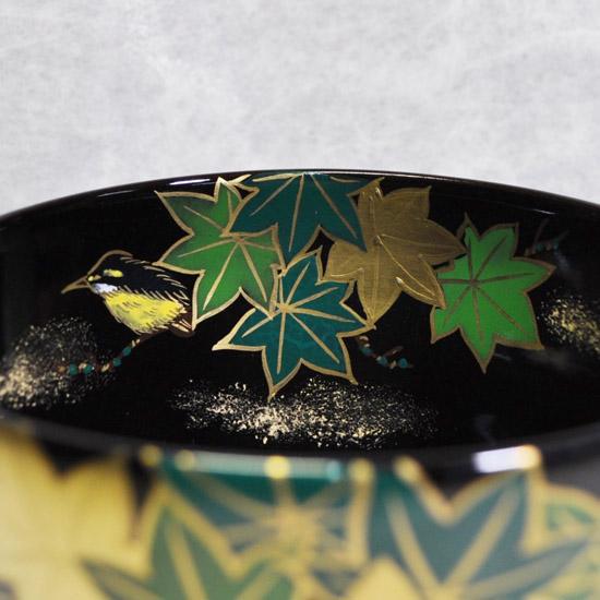 抹茶碗黒釉若楓にカワセミの内側の絵の拡大画像
