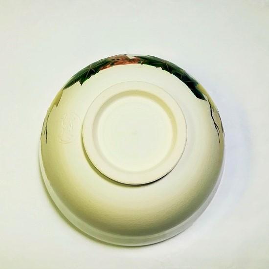 抹茶碗青楓にカワセミの高台裏の画像