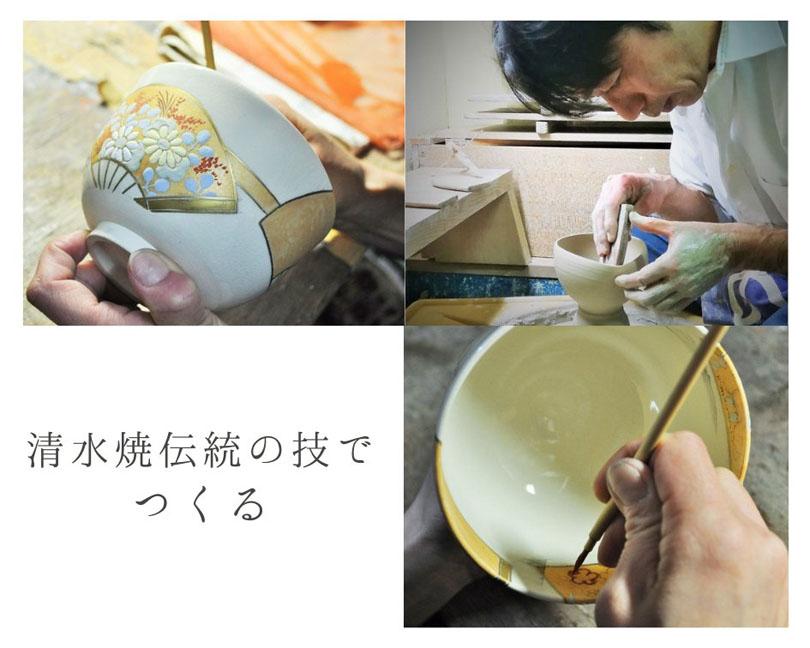 抹茶碗扇面四季のロクロ成形と絵付けの画像