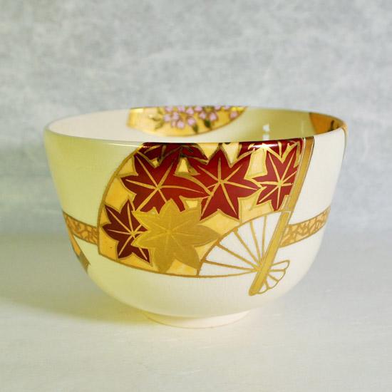 抹茶碗扇面四季の後ろ紅葉の絵の画像