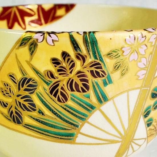 抹茶碗扇面四季のアヤメと桜の拡大画像