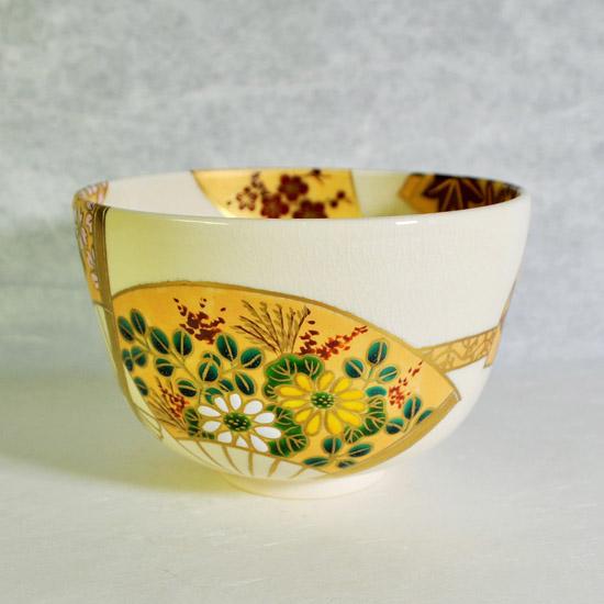 抹茶碗扇面四季の菊と萩の絵の画像