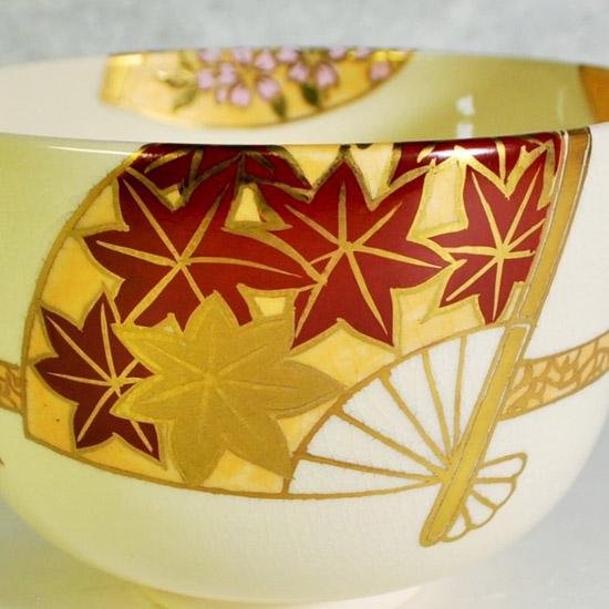 抹茶碗扇面四季の紅葉の絵の画像