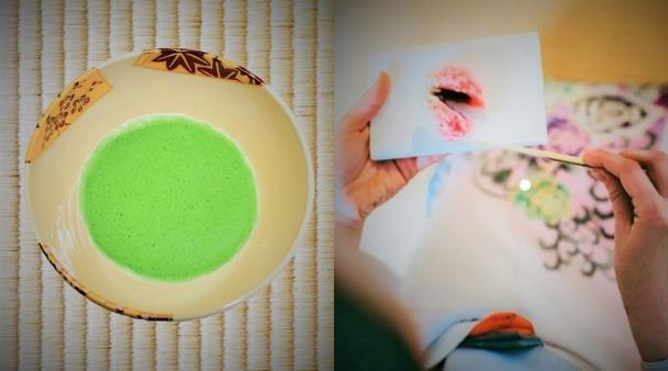抹茶碗扇面四季と抹茶と和菓子の画像