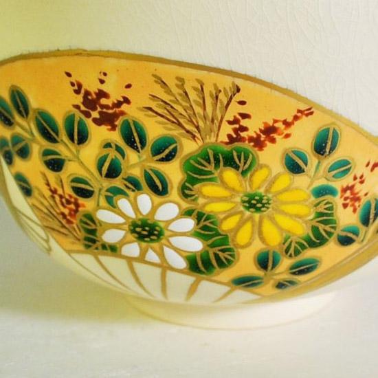 抹茶碗扇面四季の菊花と萩の絵の画像