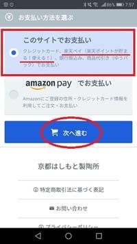 このサイトでお支払い選択の画面の画像