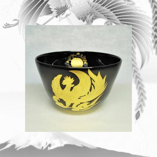 抹茶碗黒釉金彩鳳凰のイメージ画像
