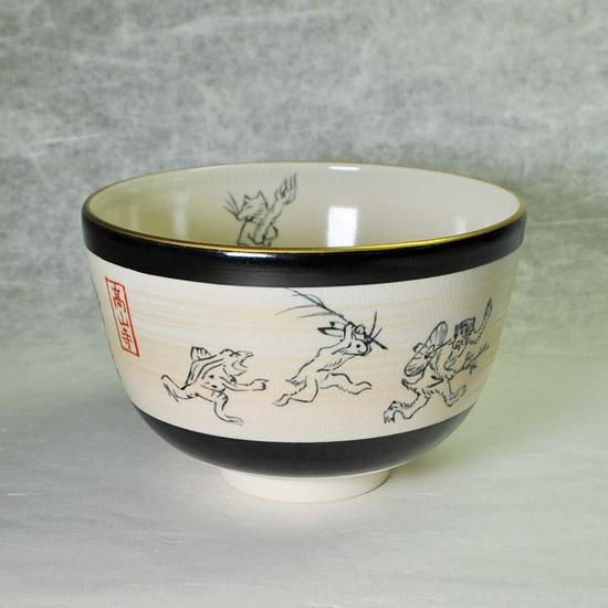 抹茶碗鳥獣戯画の正面の画像