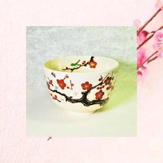抹茶碗仁清紅白梅にうぐいすのイメージ画像