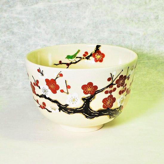 抹茶碗仁清紅白梅にうぐいすの正面の画像