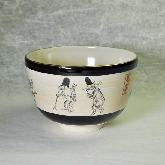 抹茶碗鳥獣戯画後ろ側の絵の画像