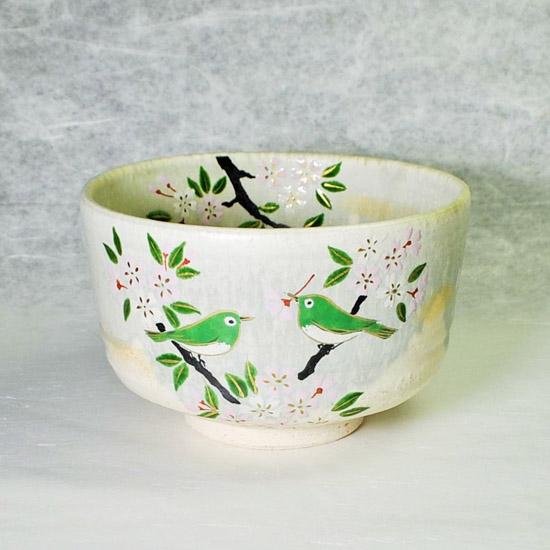 抹茶碗彩流桜にめじろの正面の絵の画像