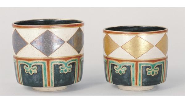 野々村仁清作 金銀菱文重茶碗の画像