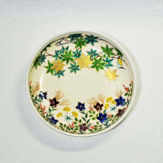 青楓とカワセミと秋草の絵の食籠の画像