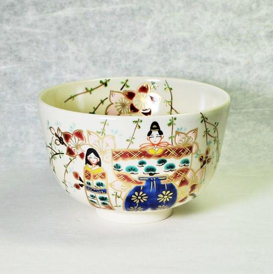 抹茶碗色絵立雛の正面の画像