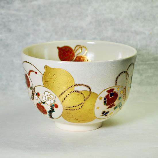抹茶碗金彩六瓢の正面の画像