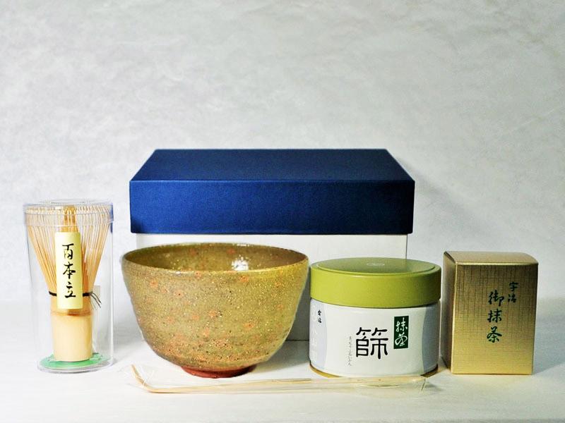 抹茶碗セット松灰釉のセット内容の画像
