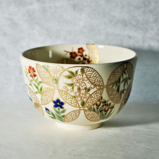 抹茶碗四季七宝つなぎの正面の画像
