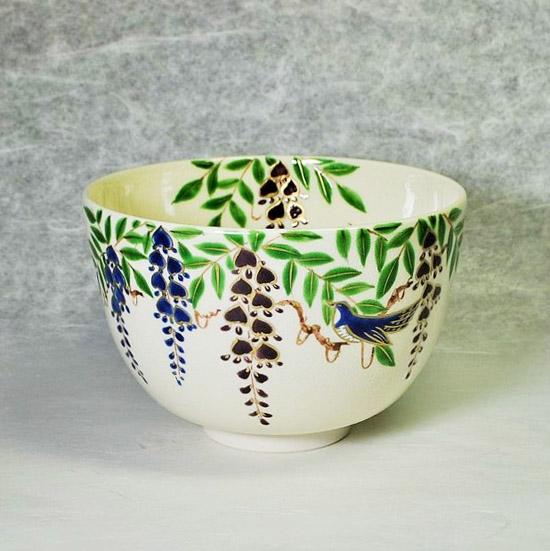 抹茶碗藤にほととぎすの正面の画像