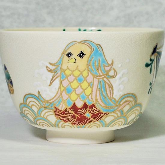 抹茶碗あまびえの正面のあまびえの絵の拡大画像