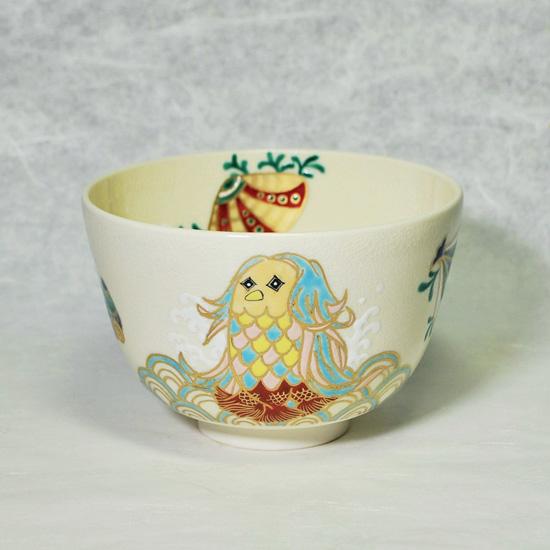 抹茶碗あまびえの正面の絵柄の画像
