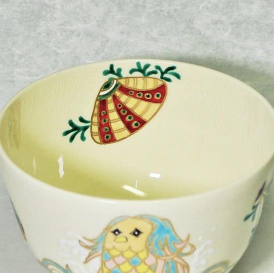 抹茶碗あまびえの内側の絵の拡大画像